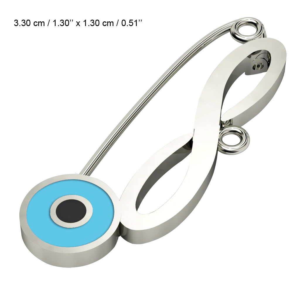 baby safety pin, round eye – infinity, made of 18k white gold vermeil on 925 sterling silver with turquoise enamel