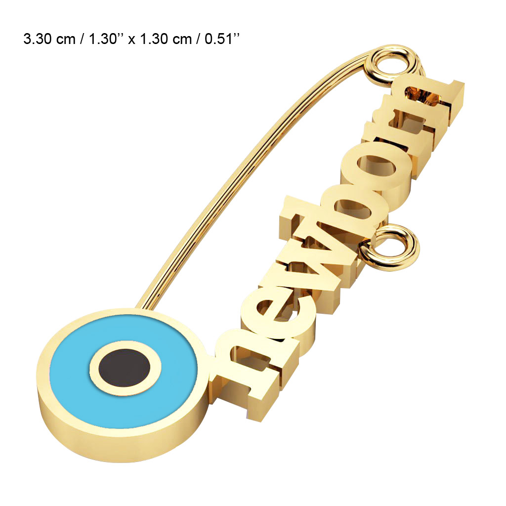 baby safety pin, round eye – newborn, made of 18k gold vermeil on 925 sterling silver with turquoise enamel