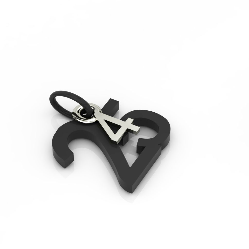 date pendant April 25th made of black oxidised 925 sterling silver and 9 karat white gold / 42