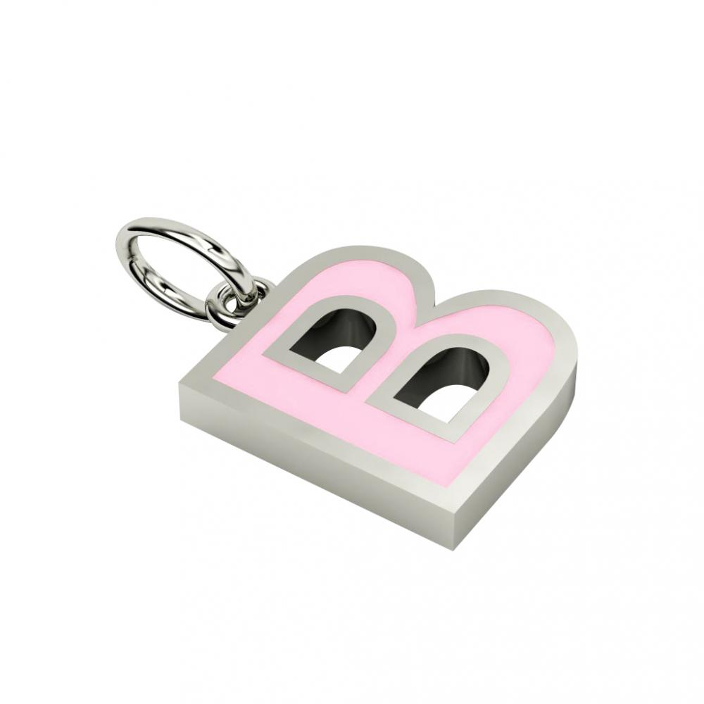 Alphabet Capital Initial Letter B Pendant, made of 925 sterling silver / 18k white gold finish with pink enamel