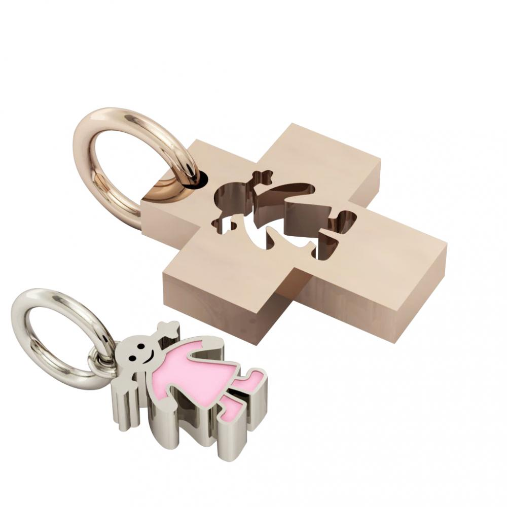 little cross with girl, father and daughter cobo pendant, made of 925 sterling silver with pink enamel / 32