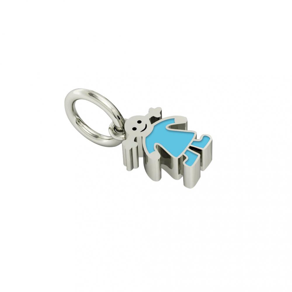 girl pendant, made of 925 sterling silver / 18k white gold finish with turquoise enamel