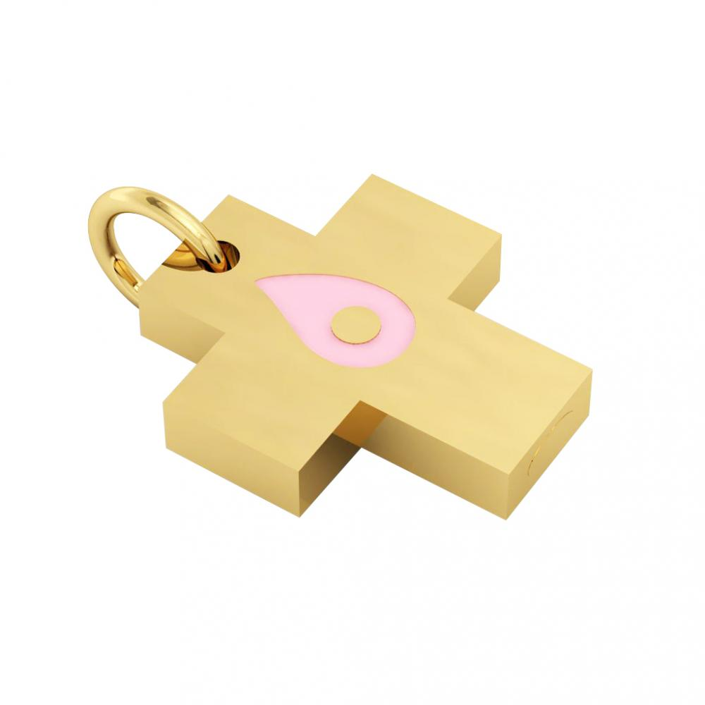 Little Cross with an internal enamel Drop Evil Eye, made of 925 sterling silver / 18k gold finish with pink enamel
