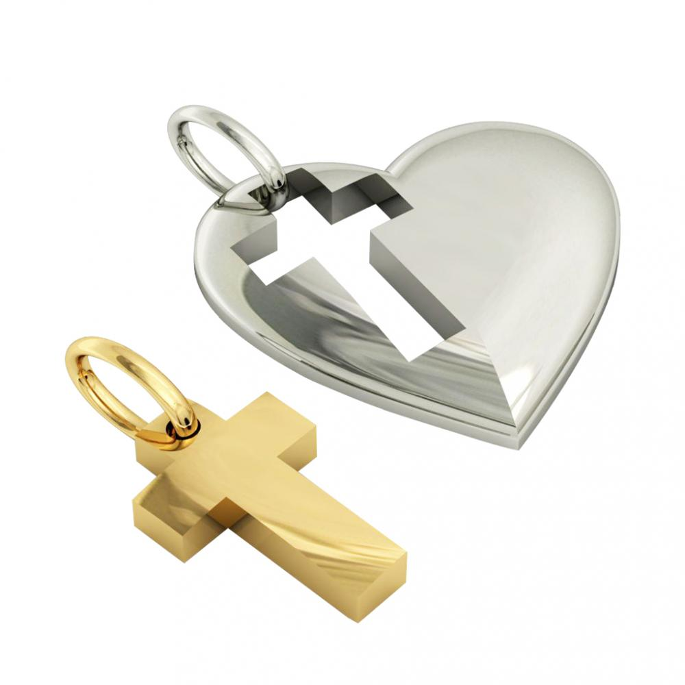 heart with cross, mother and son cobo pendant, made of 925 sterling silver / 21