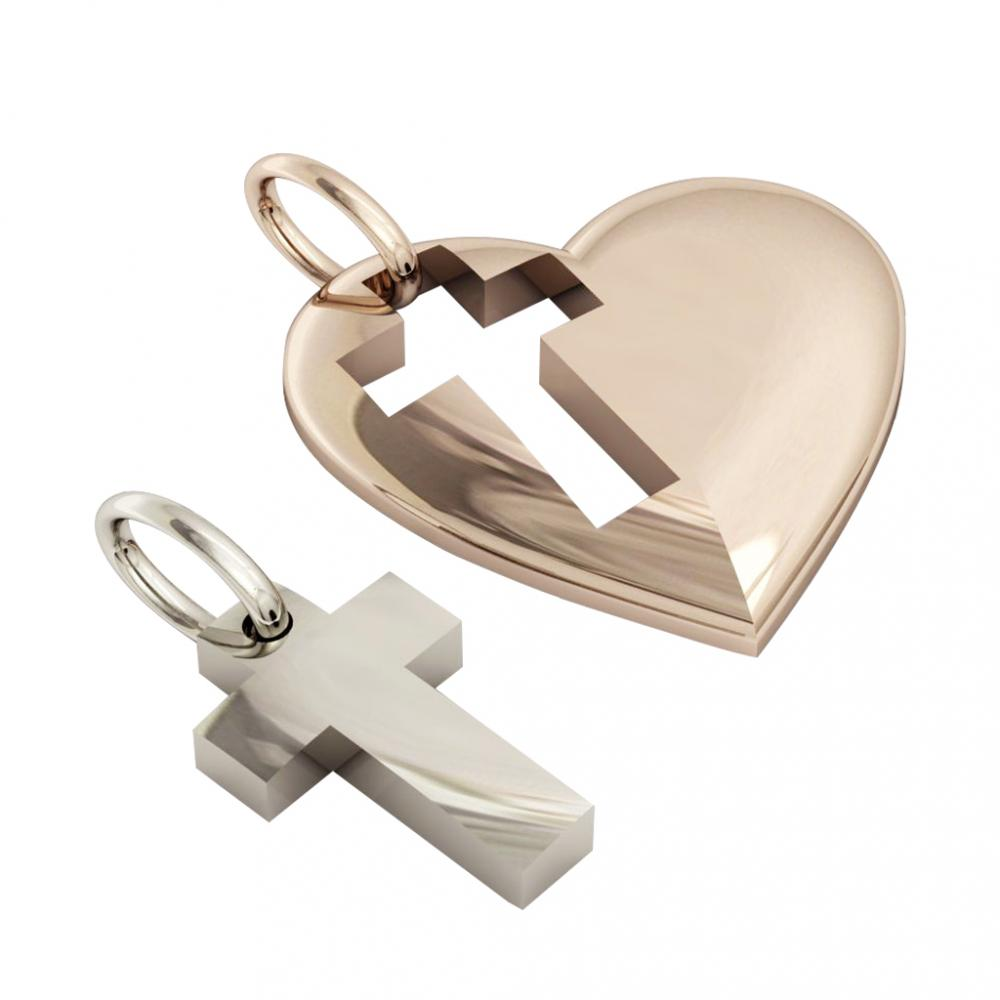 heart with cross, mother and son cobo pendant, made of 925 sterling silver / 32