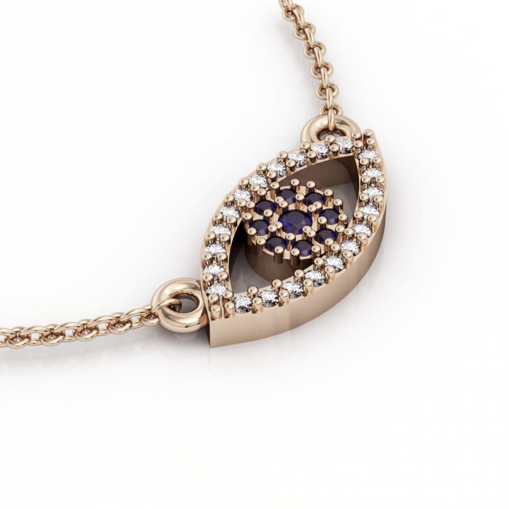 Navette Evil Eye 1 Necklace, made of 925 sterling silver / 18k rose gold finish with zircon