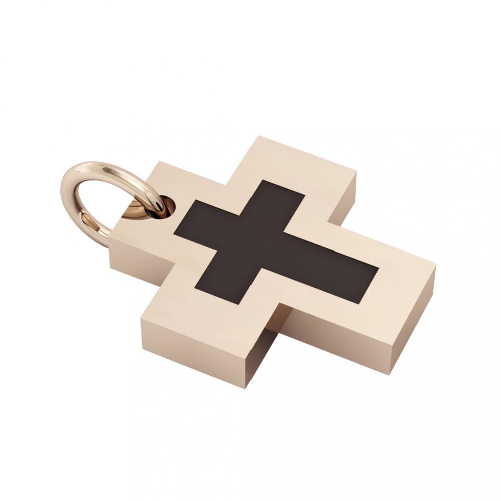 Little Cross with an internal enamel Cross, made of 925 sterling silver / 18k rose gld finish with black enamel