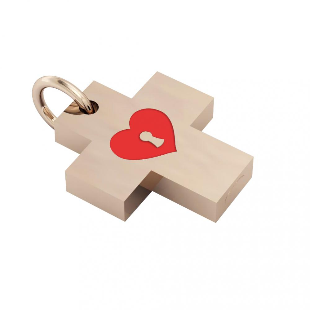 Little Cross with an internal enamel Heart Padlock, made of 925 sterling silver / 18k rose gld finish with red enamel
