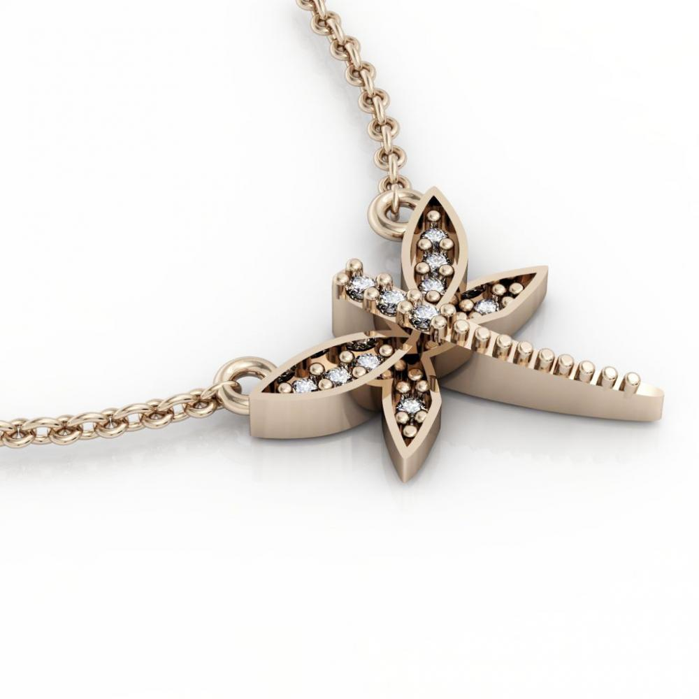 Dragonfly 1 Necklace, made of 925 sterling silver / 18k rose gold finish with zircon