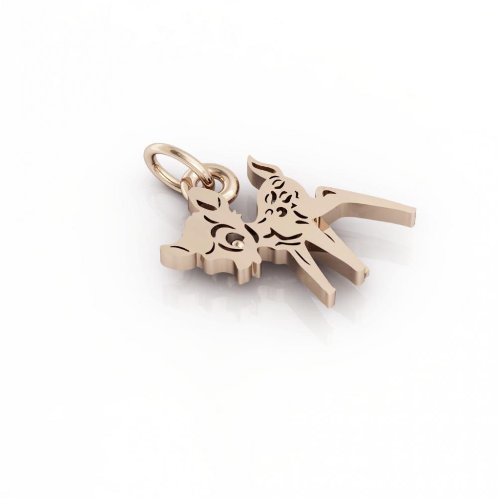 little deer pendant, made of 925 sterling silver / 18k rose gold finish