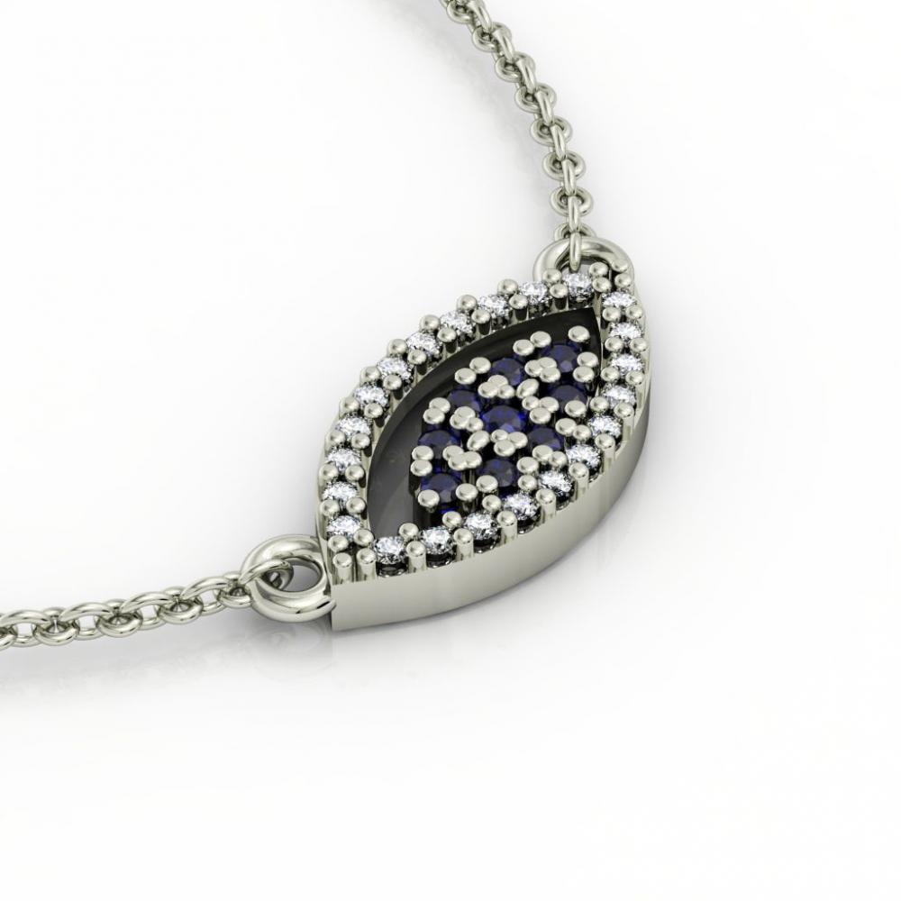 Navette Evil Eye 1 Necklace, made of 925 sterling silver / 18k white gold finish with zircon