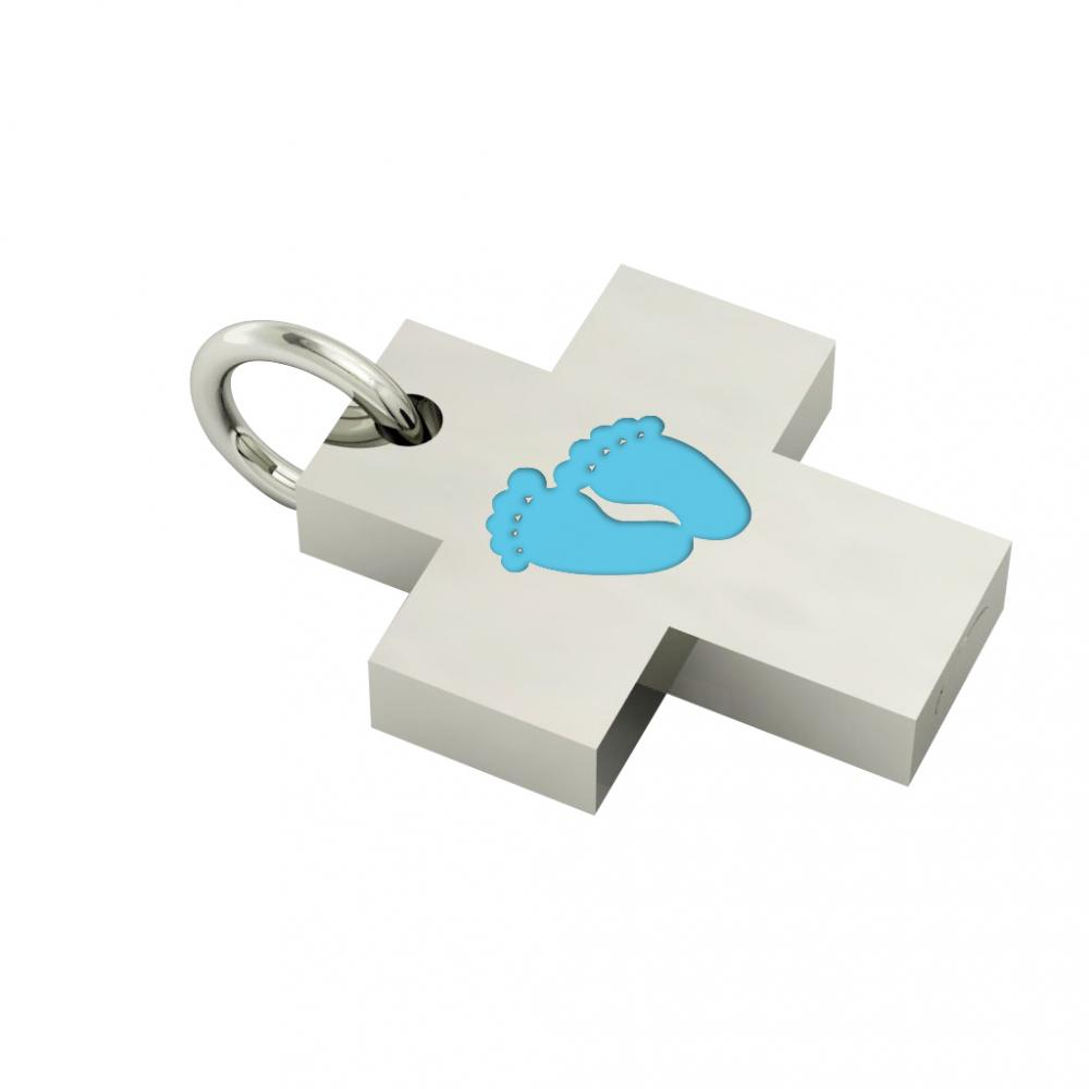 Little Cross with internal enamel Baby Feet, made of 925 sterling silver / 18k white gold finish with turquoise enamel