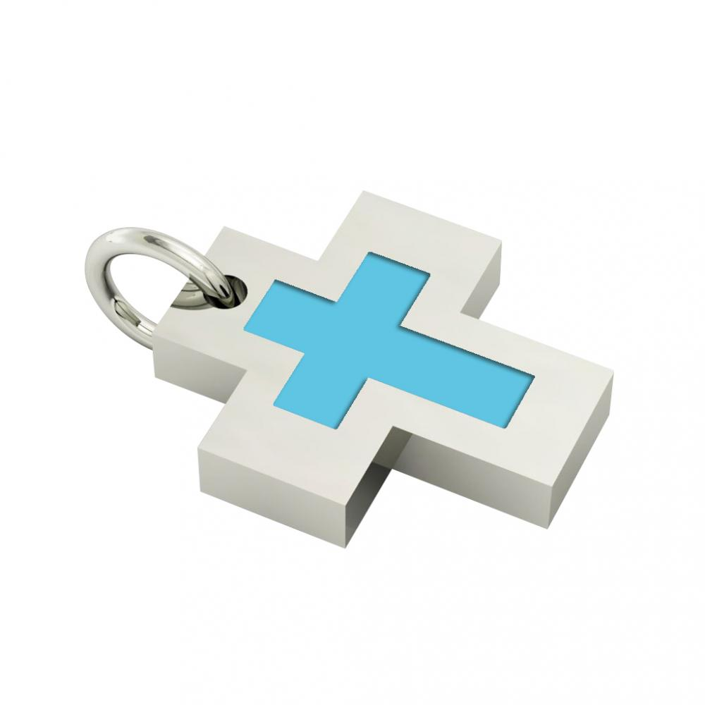 Little Cross with an internal enamel Cross, made of 925 sterling silver / 18k white gold finish with turquoise enamel