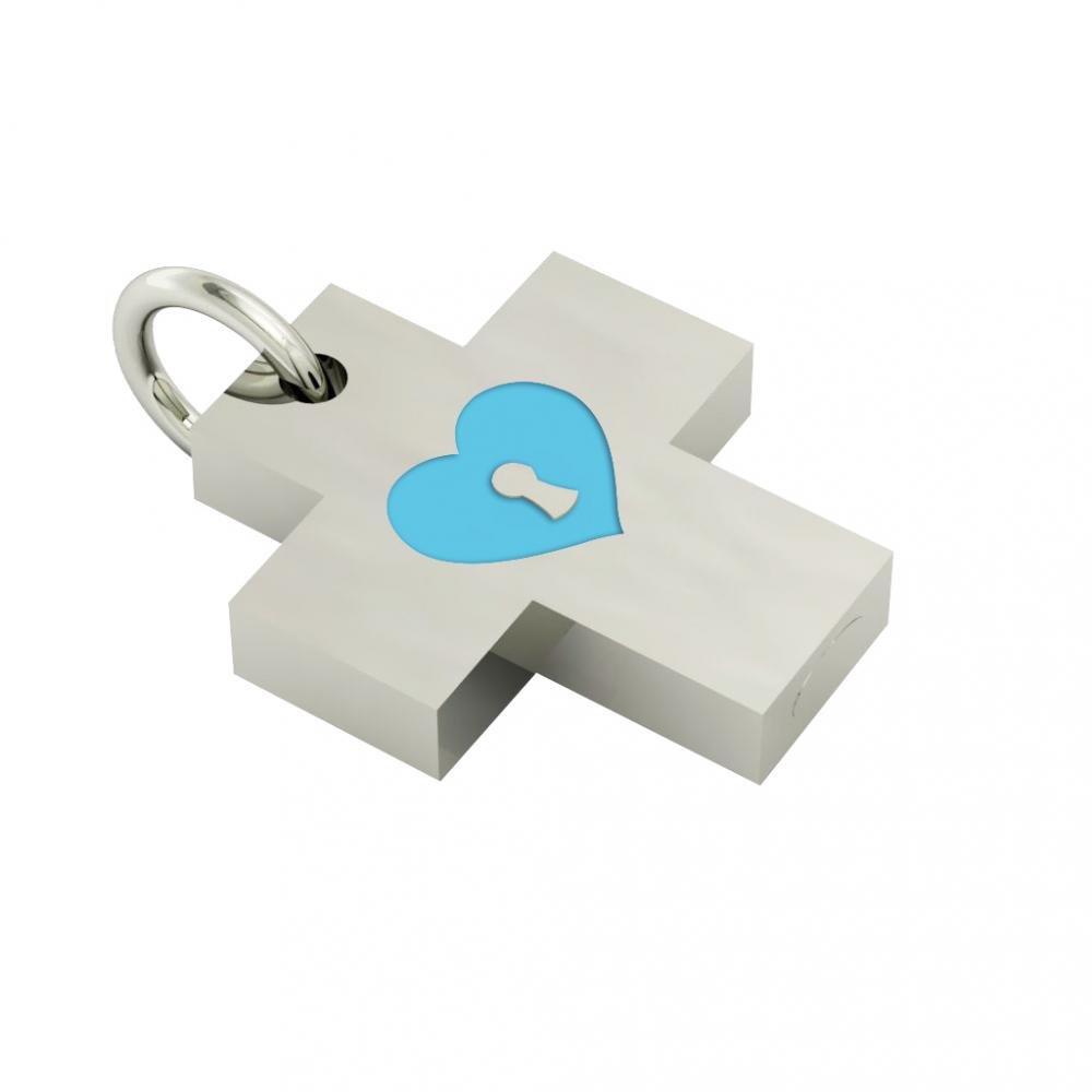 Little Cross with an internal enamel Heart Padlock, made of 925 sterling silver / 18k white gold finish with turquoise enamel