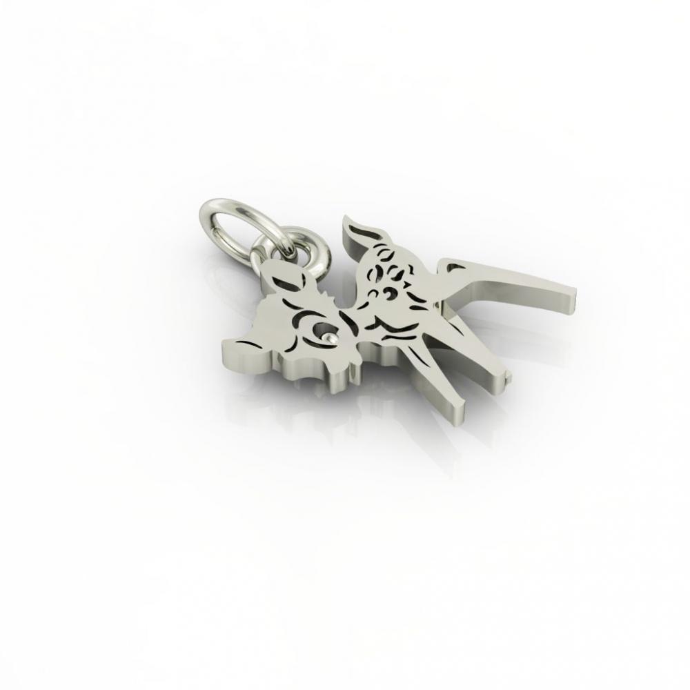 little deer pendant, made of 925 sterling silver / 18k white gold finish