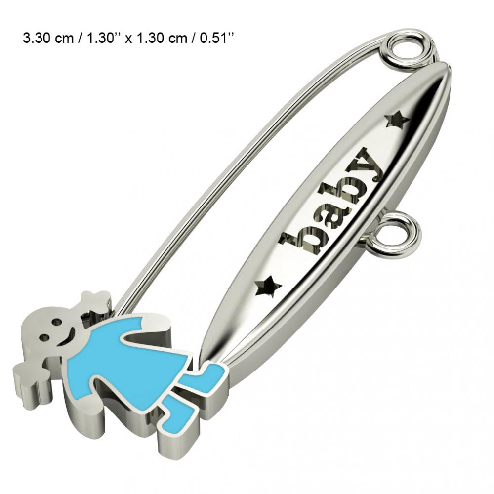baby safety pin, girl – baby, made of 18k white gold vermeil on 925 sterling silver with turquoise  enamel