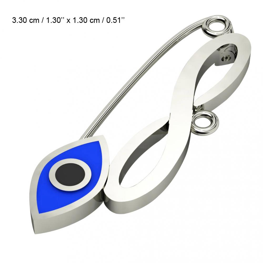 baby safety pin, navette eye – infinity, made of 18k white gold vermeil on 925 sterling silver with blue enamel